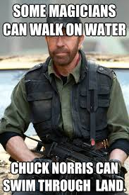 Chuck Norris Funny Meme - some magicians can walk on water chuck norris can swim through land