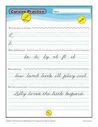 cursive l letter l worksheets for handwriting practice