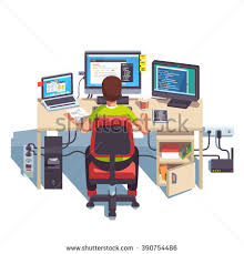 professional programmer working writing code his stock vector