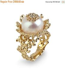 diamond pearl rings images On sale coral flower pearl diamond ring gold pearl diamond jpg