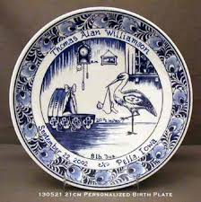 8 delft blue birth plate personalized birth tiles birth plates
