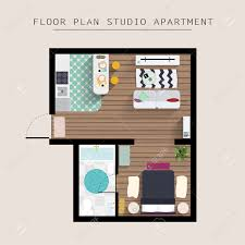 detailed apartment furniture overhead top view studio apartment