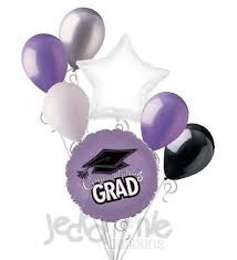 7 pc lavender congratulations grad balloon bouquet party