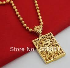 gold bead pendant necklace images Nec1533 fashion gold dragon necklaces for men square pendant jpg