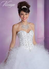 satin and ruffled tulle quinceanera dress with beading style