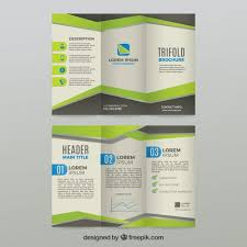 green and grey trifold business brochure template vector free