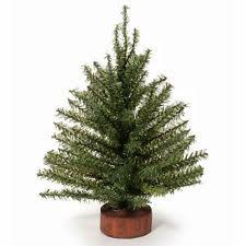 12 inch green artificial pine tree with wood base