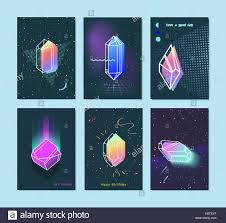 80s design set of neon space 80s style crystals with a triangle stock vector