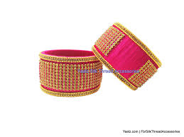 rani pink colour yaalz jumbo kada with antique stone work in rani pink color