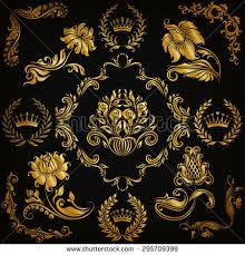 set gold damask ornaments floral element stock vector 295709399