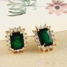 stud earrings online the square green wedding earrings korean fashion plated