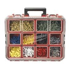 milwaukee 10 compartment red deep pro small parts organizer 225046