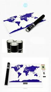 World Map Wall Poster by Gift For Girlfriend Or Boyfriend Travel Scratch Map Luminous