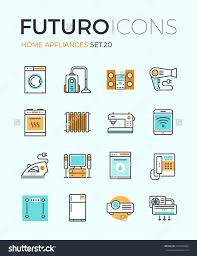 elements of home design line icons with flat design elements of major home appliances