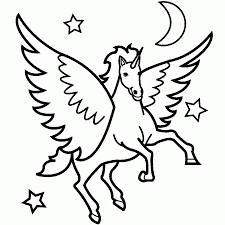 pegasus flew see the stars and moon coloring pages for kids emg