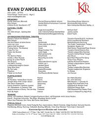 Official Resume Evan Dangeles Official Website For Musical Theater Actor Writer