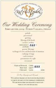 sle wedding programs outline wedding program wording kalista weddings