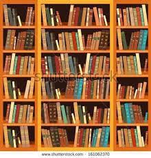Bookcase With Books Vintage Books On Bookshelf Old Books Stock Illustration 635478068
