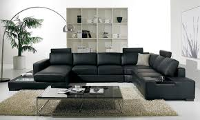 Modern Leather Sofa Living Room White Sectional Leather Sofa Brown Cushions Dark