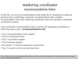 Marketing Coordinator Resume Sample by Marketing Coordinator Recommendation Letter