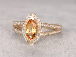 citrine engagement rings 10x5mm marquise cut citrine engagement ring diamond wedding ring