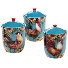 rooster kitchen canisters certified international sunflower rooster 3 pc canister set