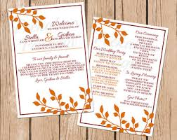 fall wedding programs fall wedding program printable template fall diy