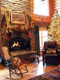 Decorative Pine Trees Gorgeous Log Cabin Christmas Villages Using Knotty Wood Paneling