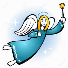 christmas angel stylized flying christmas angel with on a blue background
