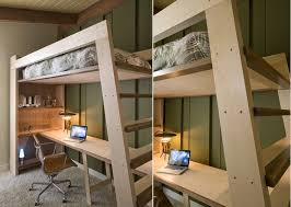 How To Build A Loft Bed With Desk Underneath by Bed Desk Combos Save Space And Add Interest To Small Rooms