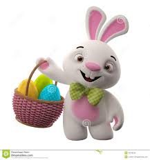 bunny basket eggs 3d easter bunny merry rabbit animal character with