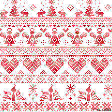 scandinavian nordic xmas pattern with reindeer rabbits xmas trees