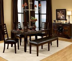 dining room dining room table with bench seats carpet shiny
