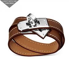 hermes bracelet leather images Hermes kelly double tour brown leather bracelet with white gold jpg