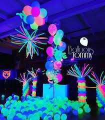 neon party this floor is ready to party the uv balloons light up the