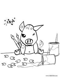 painting pig coloring pages hellokids com