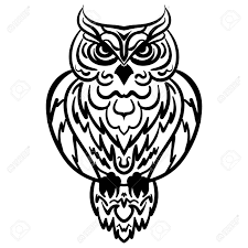 Patterned Flying Owl Drawing Illustration Portrait Owl Decorative Stylized Line Black And White Isolated
