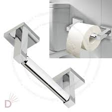 Toilet Roll Holder Wall Mounted Square Shine Chrome Finish Bathroom Bar Toilet Roll