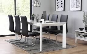 High Gloss Extending Dining Table Avon White High Gloss Extending Dining Table With 6 Perth Black