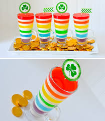 st patrick u0027s day rainbow jell o with gold chocolate coins