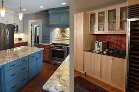 Mixed Kitchen Cabinets Blue Kitchen Walls With Brown Cabinets Kitchen Cabinet Ideas