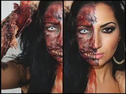 half face halloween makeup ideas halloween tutorial half zombie half human 2013 youtube