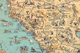 World Map Cartoon by Whimsical Old Map Depicts California At A Time When U0027hollywood Was