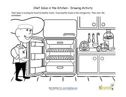 cooking with kids drawing activity and coloring page for children