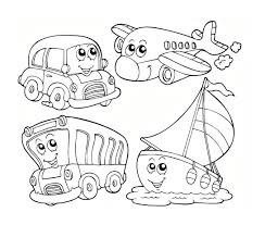 vehilce transport car bike train airplane ship coloring pages
