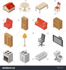 3d Bookshelf Interior Isometric Icons Set 3d Bookshelf Stock Vector 289036547