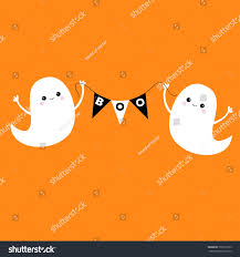 flying halloween ghost flying ghost spirit holding bunting flag stock vector 702310105