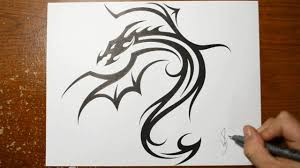 designing a cool tribal dragon tattoo design drawing 1 youtube