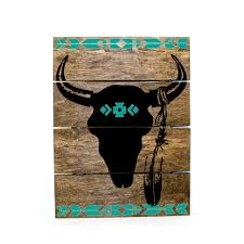 tribal print steer skull pallet sign indie home decor gifts for