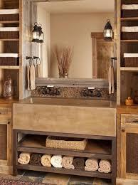rustic master bathroom with stone backsplash by julie wyss